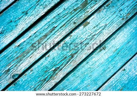 Distressed Vintage Robins Egg, Navy & Baby Boy Blue Grunge Wood Grain Texture Background - stock photo