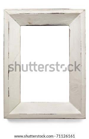 Distressed white painted picture frame, isolated on white.