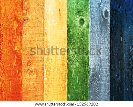 Distressed Wood Texture Background Design Painted Colorful Color Palette Trend, Mid Tone, Orange, Yellow, Green, Powder Blue, Ink Blue   - stock photo