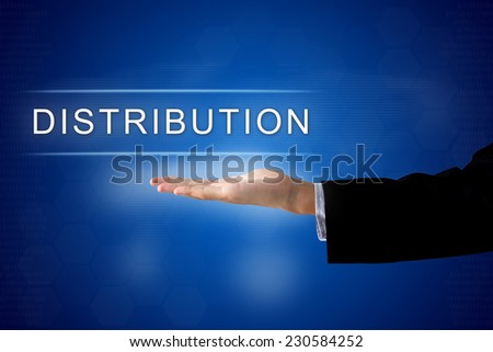 distribution button with business hand on a touch screen interface - stock photo