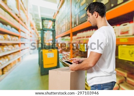Distribution, courier, men. - stock photo