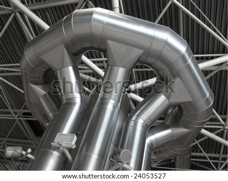 Distribution of air conditioner and ventilation within the trade building - stock photo