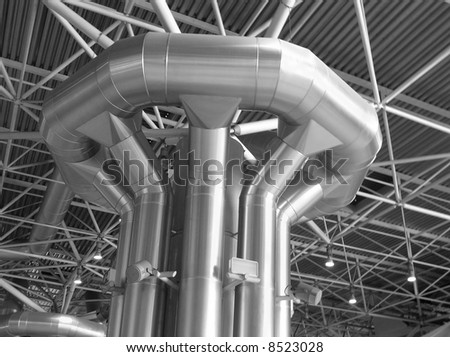 Distribution of air conditioning and ventilation within the trade building - stock photo