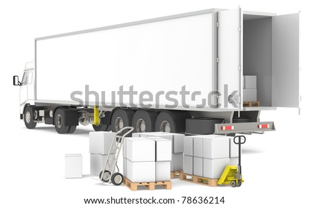 Distribution. Open trailer with pallets, boxes and trucks. Part of a Blue and yellow Warehouse and logistics series. - stock photo