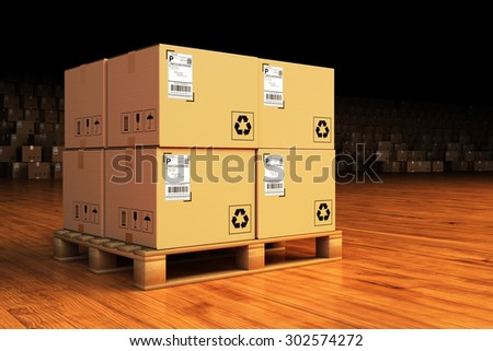 Distribution warehouse, package shipment, freight transportation and delivery concept, cardboard boxes on pallet in the retail store building - stock photo