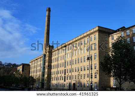 Disused Yorkshire textile mill with chimney