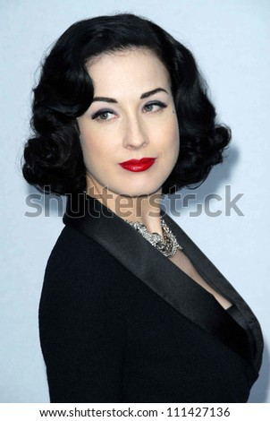 Dita Von Teese  at the 2007/2008 Chanel Cruise Show Presented by Karl Lagerfeld. Hanger 8, Santa Monica, CA. 05-18-07 - stock photo