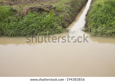 Ditch in a field - stock photo