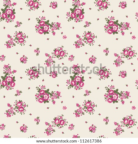 Ditsy Floral Seamless Pattern Vector illustration of seamless, repeating rose pattern. - stock photo
