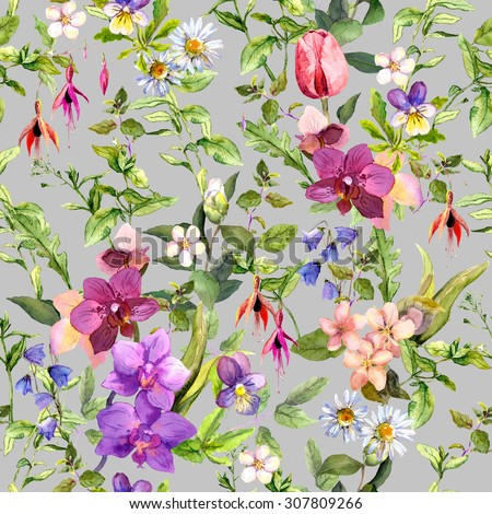 Ditsy flowers and wild herbs - summer garden. Vintage seamless floral and herbal pattern. Watercolor - stock photo
