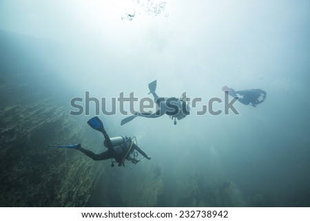 Dive in hot spring, the different density of hot and cold water makes the vision blurry. Barracuda Lake, Coron, Philippines. - stock photo