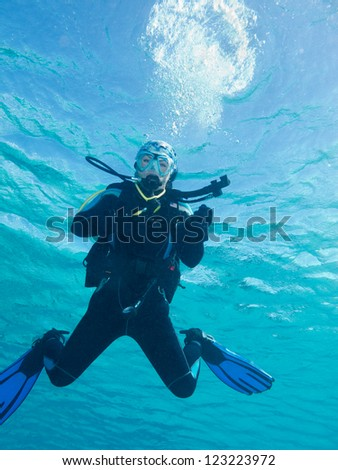 diver girl - stock photo