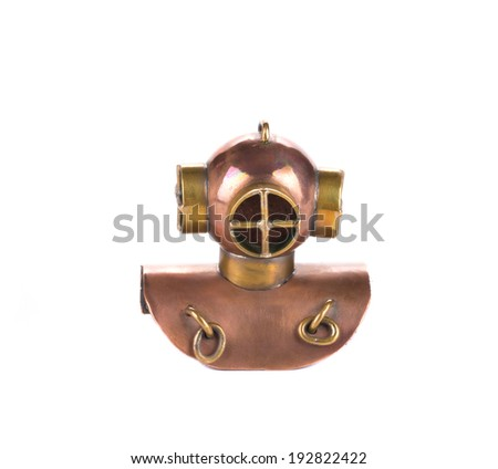 Diver helmet as a souvenir. Isolated on a white background. - stock photo