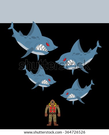 Diver is surrounded by sharks. Underwater abyss and evil sharks want to eat person in old diving suit - stock photo
