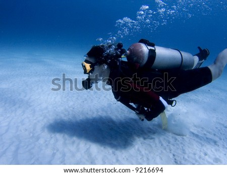 Diver over white sand in the Caribbean Sea - stock photo