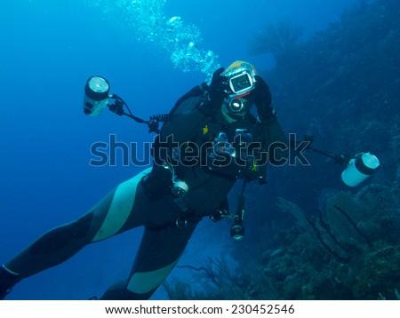 diver photographer - stock photo