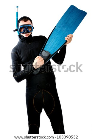 diver play flipper like a guitar - stock photo