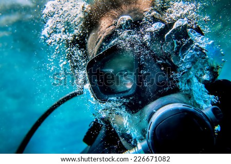 diver selfy - stock photo
