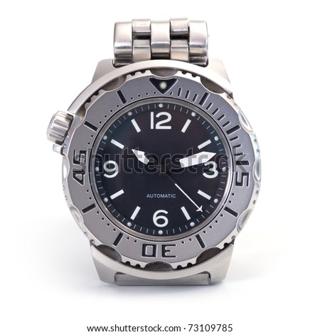Diver watch over white background. - stock photo