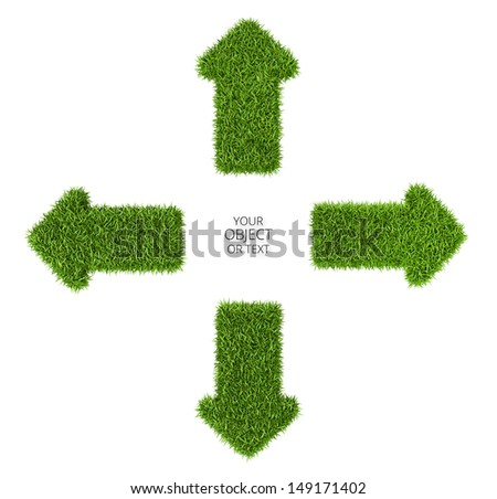 Divergent arrows symbol from grass, isolated on white background - stock photo