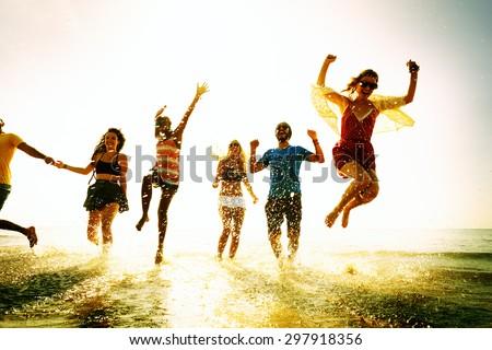 Diverse Beach Summer Friends Fun Running Concept - stock photo