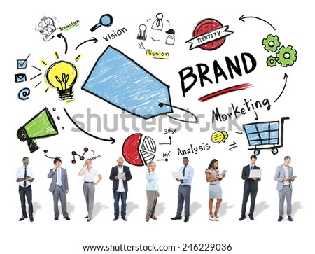 Diverse Business People Marketing Brand Concept - stock photo