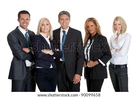Diverse business team standing together isolated on white background - stock photo