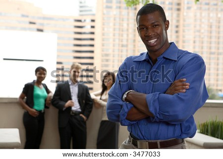 diverse business team with black male leader
