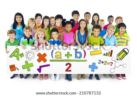 Diverse Cheerful Children Holding Mathematical Symbols - stock photo