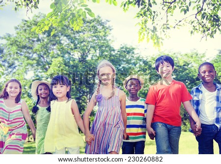 Diverse Children Friendship Playing Outdoors Concept - stock photo