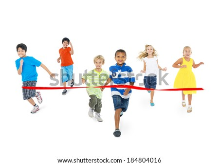 Diverse Children Running Towards the Finish Line - stock photo