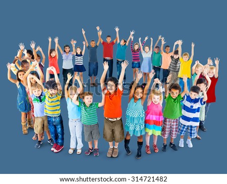 Diverse Children Standing Circle Friendship Concept - stock photo