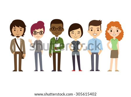 Diverse college or university students. Different ethnicities and dress styles. Cute and simple flat cartoon style. - stock photo