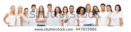 diverse, gesture and people concept - group of happy different body size and age and gender people in white t-shirts hugging showing thumbs up