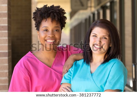 Diverse group of nurses. - stock photo