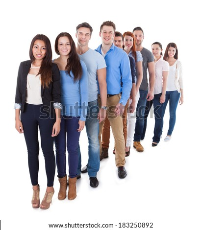 Diverse group of people standing in row. Isolated on white