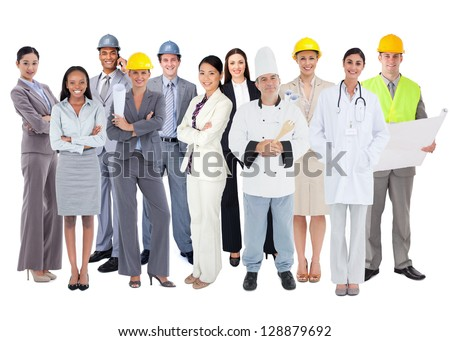 Diverse group of workers standing against white background