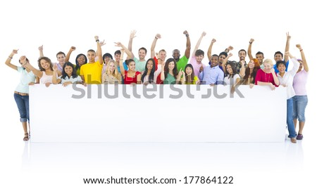 Diverse Group of Young People Celebrating - stock photo