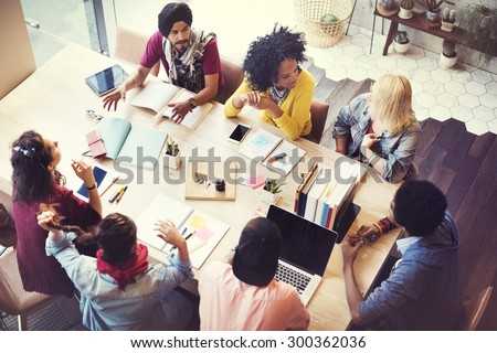 Diverse Group People Working Together Concept - stock photo