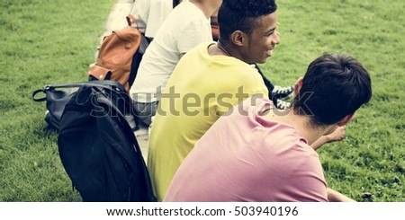 Diverse Group Young Sitting Bleachers Concept