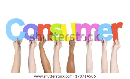 Diverse Hands Holding Consumer - stock photo