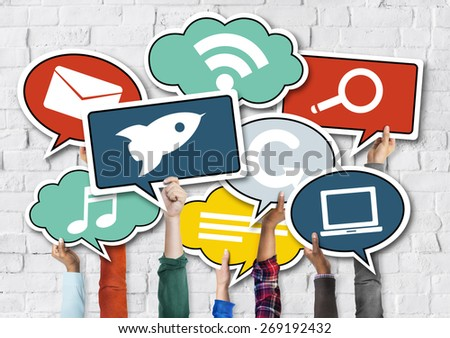 Diverse Hands Holding Speech Bubbles with Symbols - stock photo