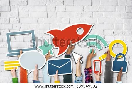 Diverse Hands Holding Technology Symbols - stock photo