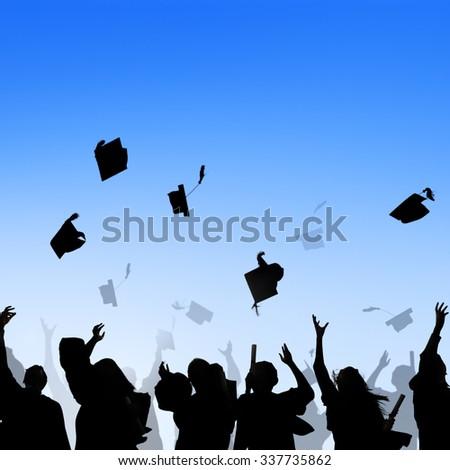 Diverse International Students Celebrating Graduation Concept - stock photo