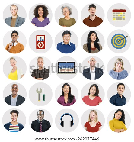 Diverse Multi Ethnic People Technology Media Concept - stock photo