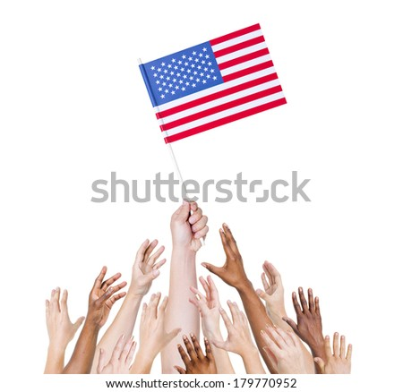 Diverse Multiethnic Hands Holding and Reaching For The Flag of United States of America - stock photo