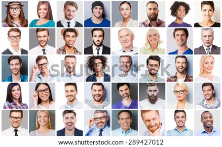Diverse people. Collage of diverse multi-ethnic and mixed age people expressing different emotions  - stock photo