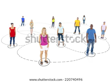 Diverse People Connected - stock photo