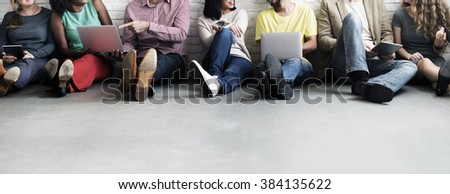 Diverse People Digital Device Connection Technology Concept - stock photo