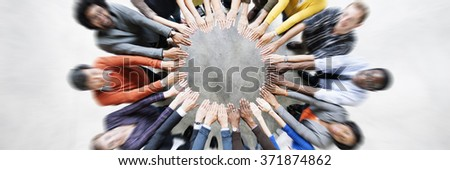 Diverse People Friendship Togetherness Connection Aerial View Concept - stock photo